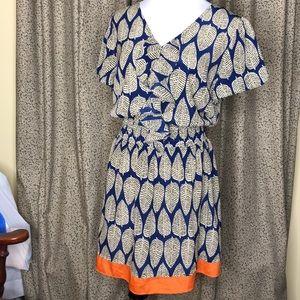 Dresses & Skirts - Leaf Dress in Navy and Orange V-neck